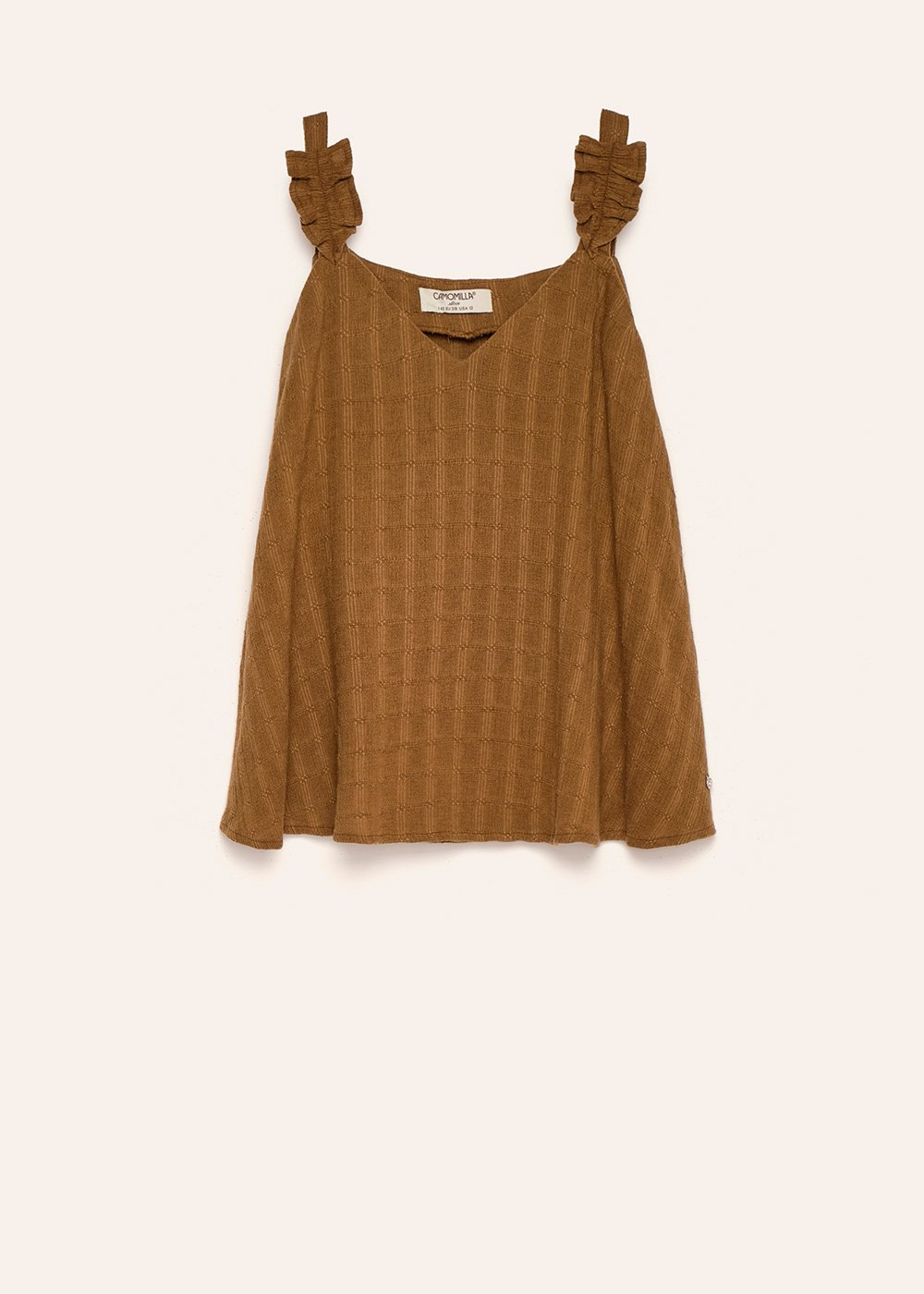Tild top with ruffled shoulder straps - Green - Woman