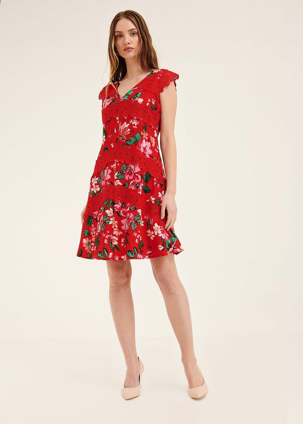 Antony dress with floral print - Ciliegia / Menta /  Fantasia - Woman