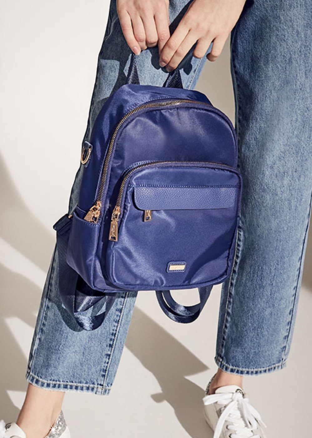 Bart nylon and faux-leather backpack - Ultramarine - Woman