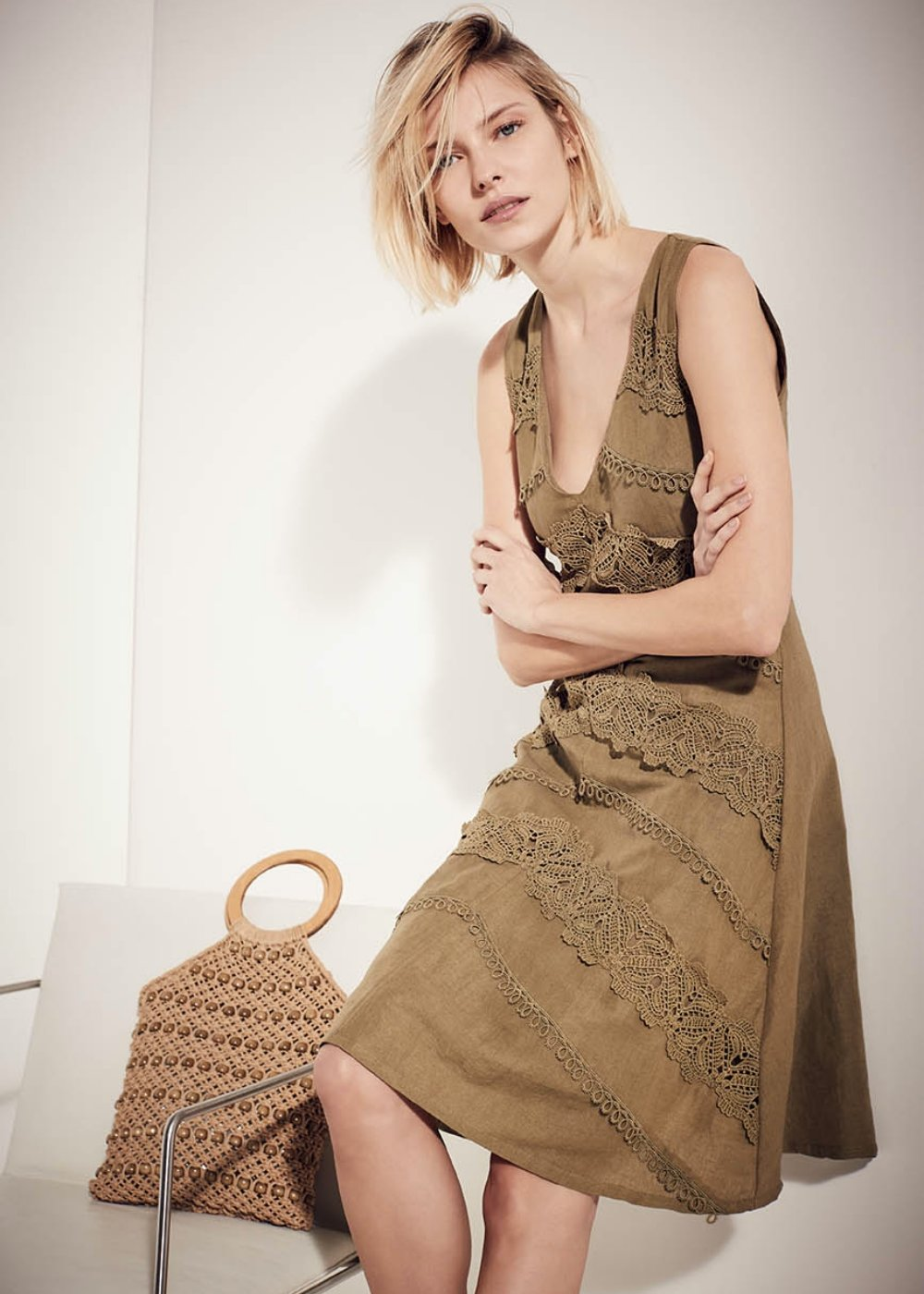 Achille dress with lace details - Green - Woman