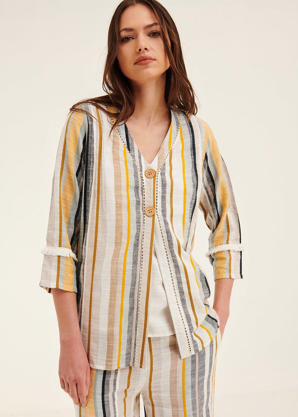 Camicia Cecilia righe verticali - White / Oliva /  Stripes - Donna