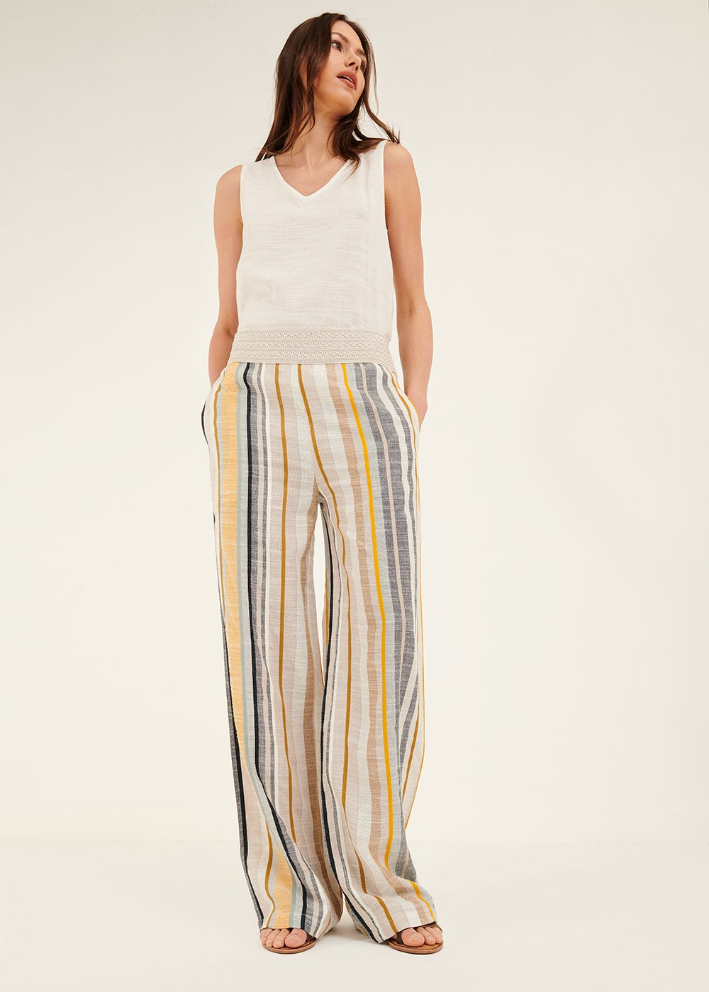 Pedro trousers with vertical stripes - White / Oliva /  Stripes - Woman