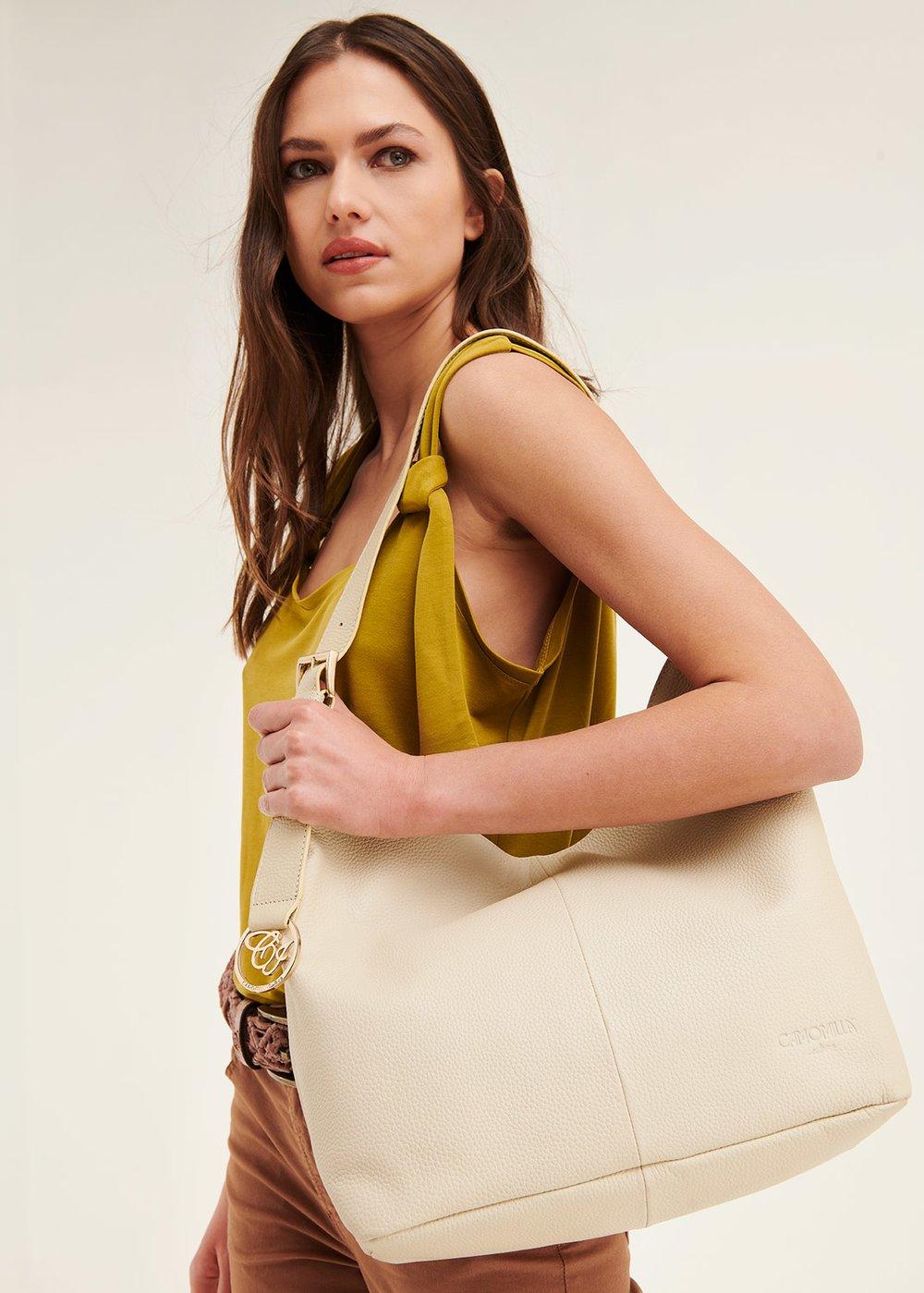 Beril genuine leather sack bag - coconut - Woman