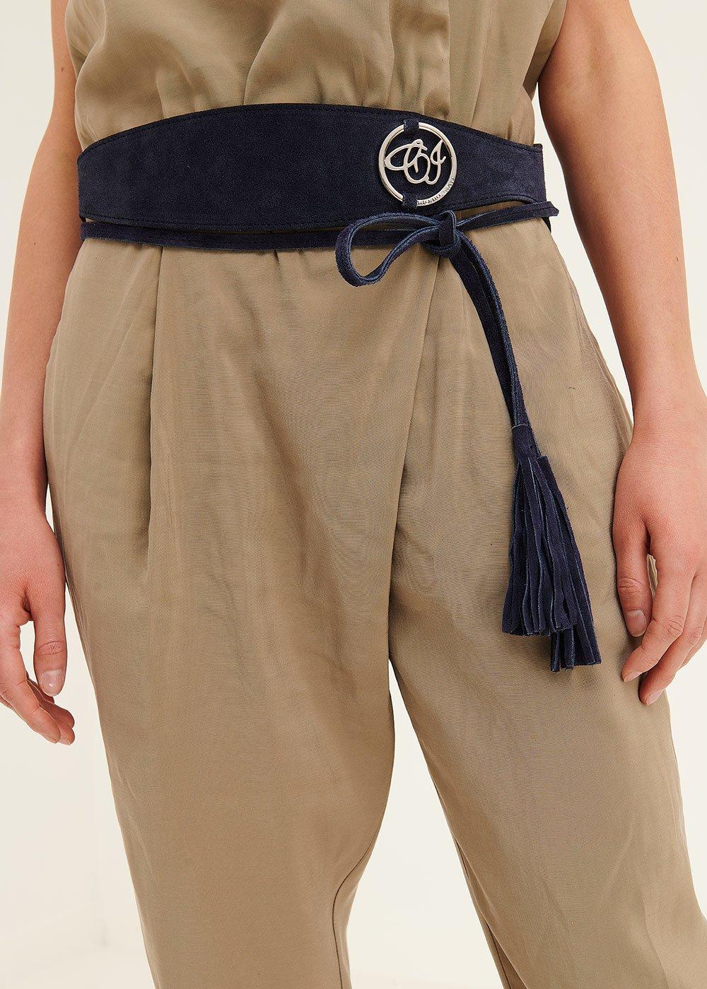 Cintura Carey in camoscio - Medium Blue - Donna