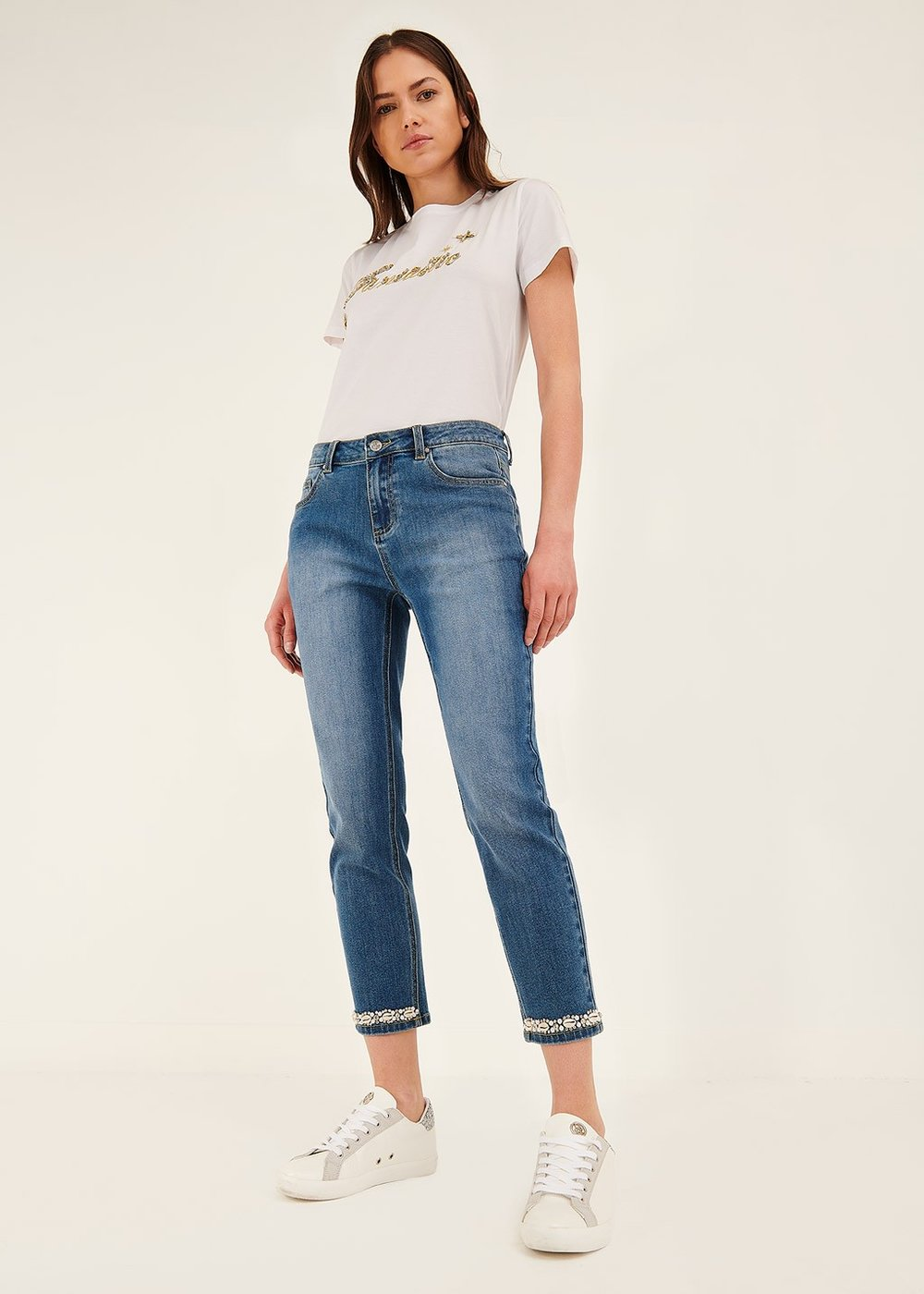 Daniel capri pants with detail at hem - Denim - Woman