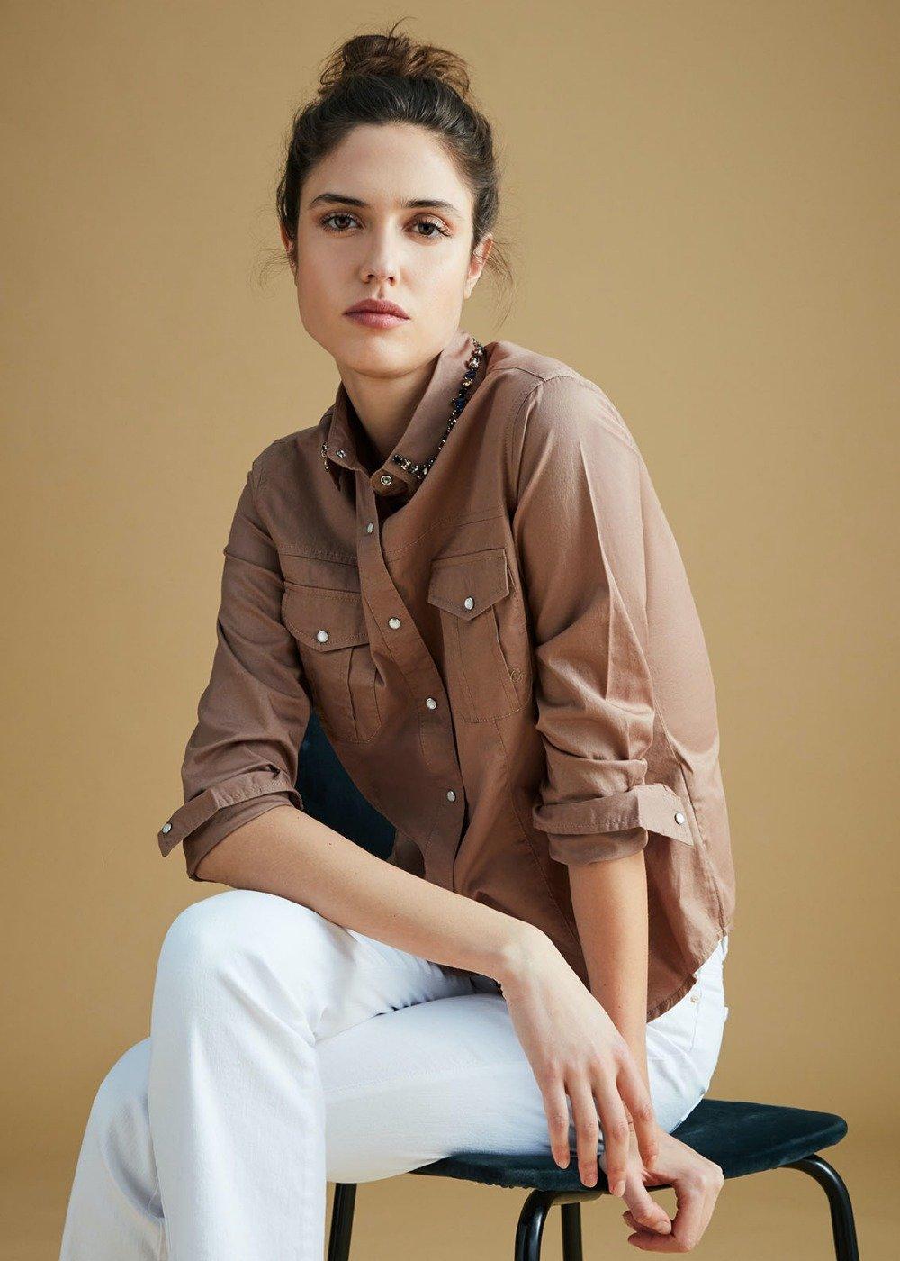 Camicia Chelsey con colletto decorato - Cammello - Donna