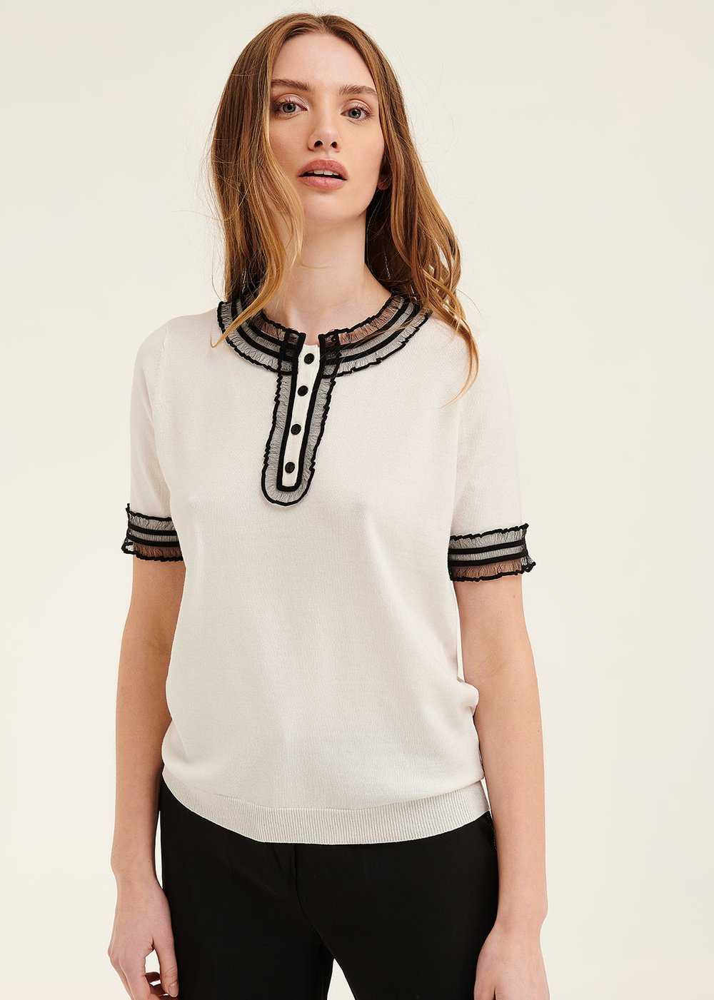 T-shirt Mara con dettagli di tulle - White - Donna