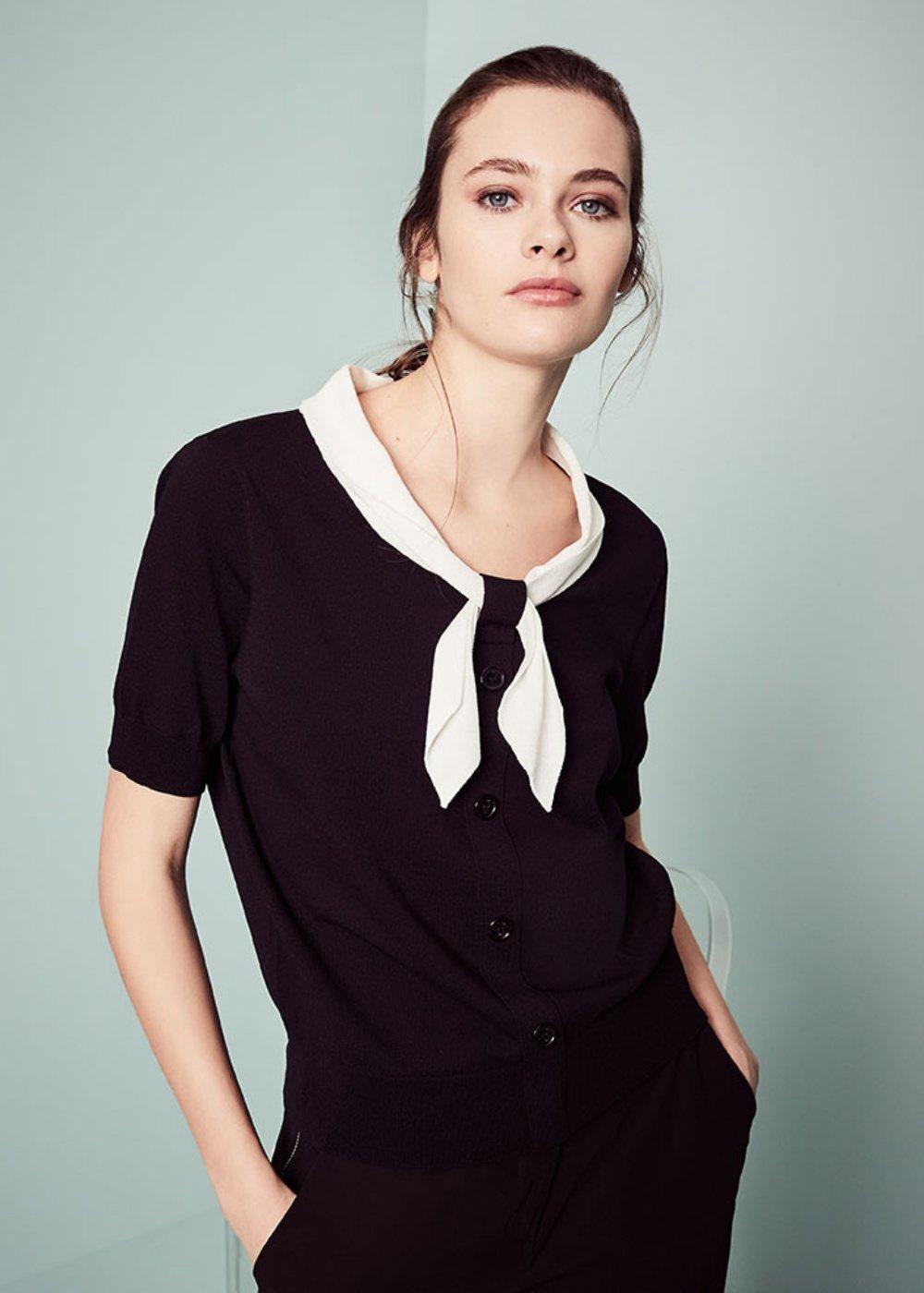 T-shirt Marica con sciarpina a contrasto - Black\ White - Donna