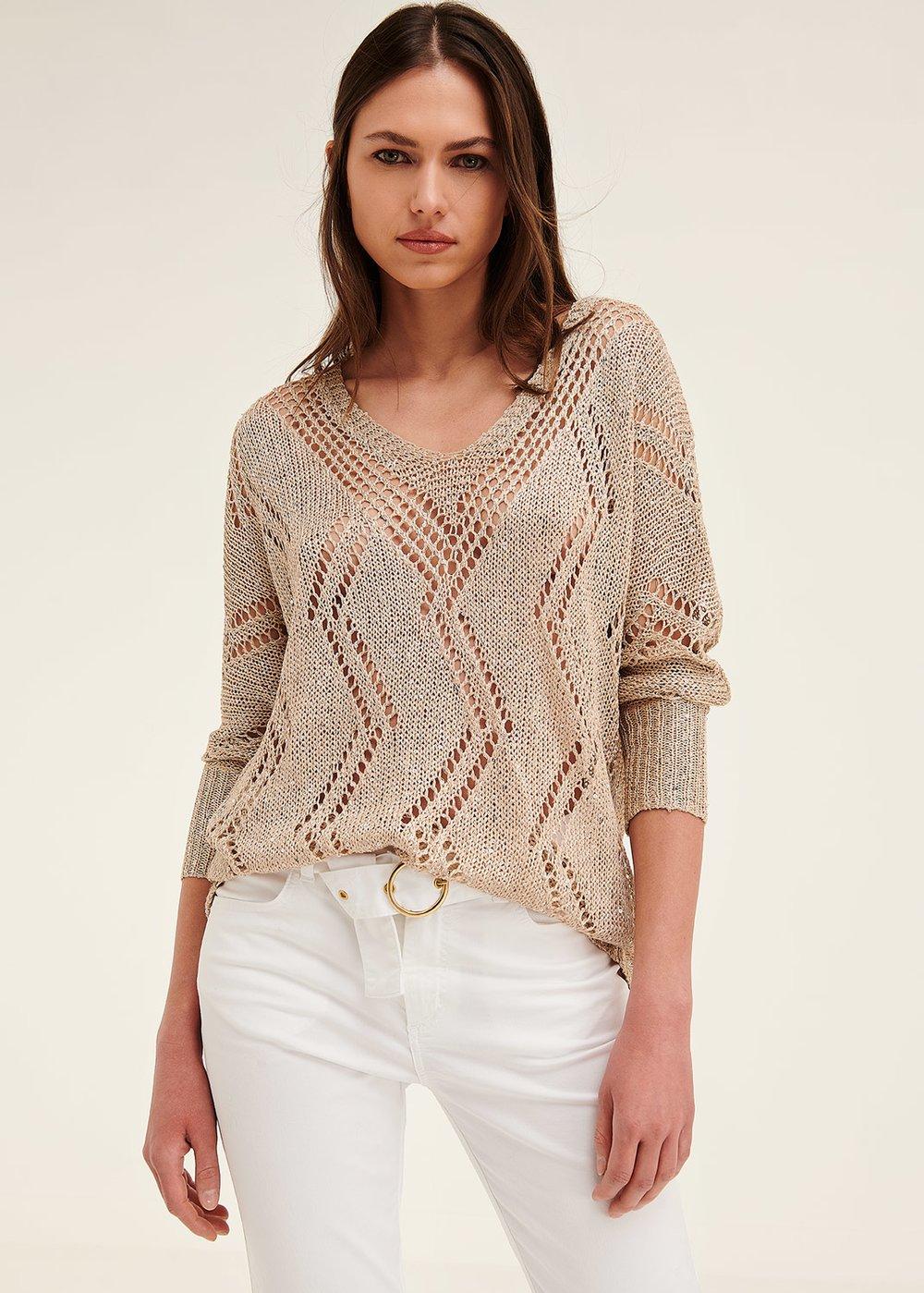 Matias openwork sweater - Taupe - Woman