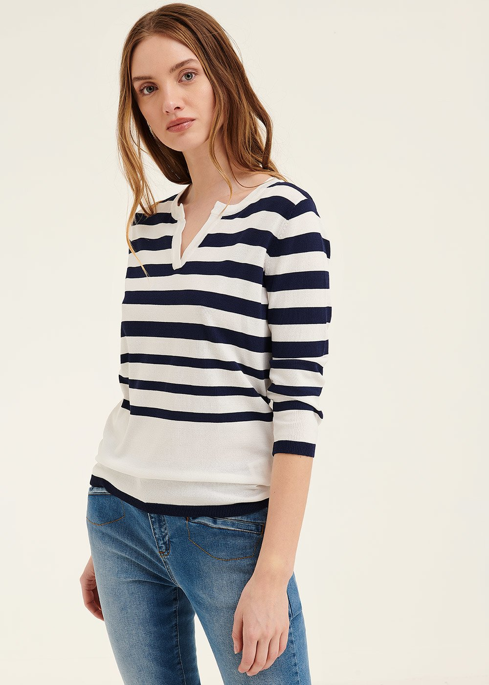 Morgan t-shirt with keyhole neckline - White\ Oltremare Stripes - Woman