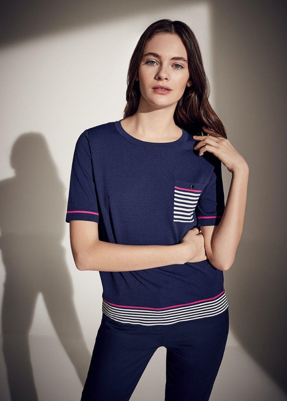 T-shirt Maikol righe e taschino - White\ Oltremare - Donna