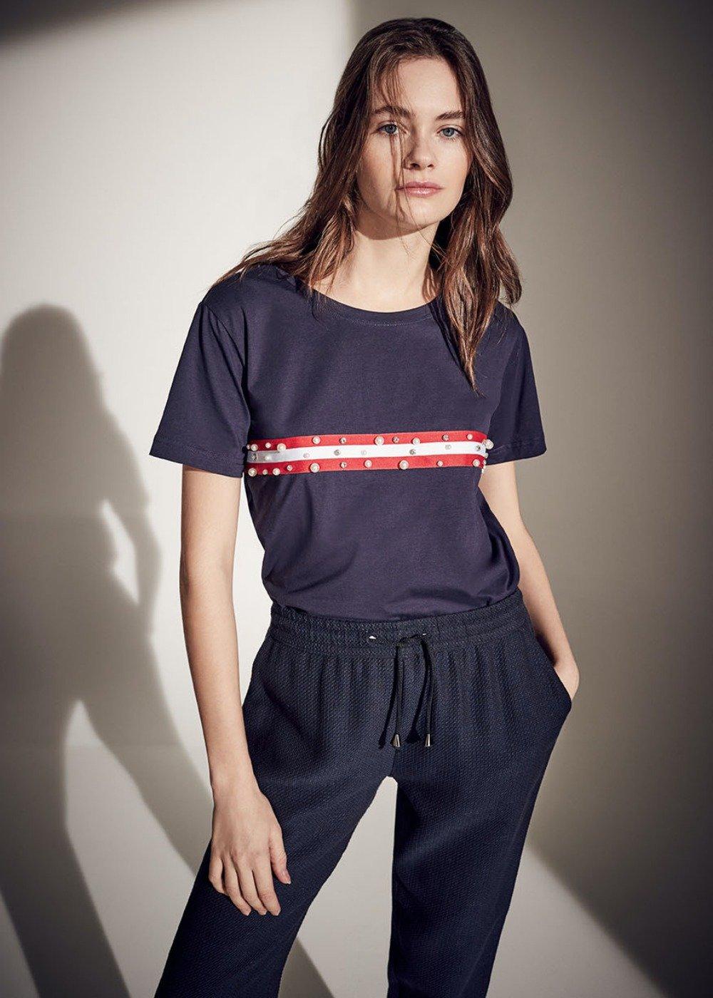 T-shirt Susan con righe a contrasto - Oltremare - Donna