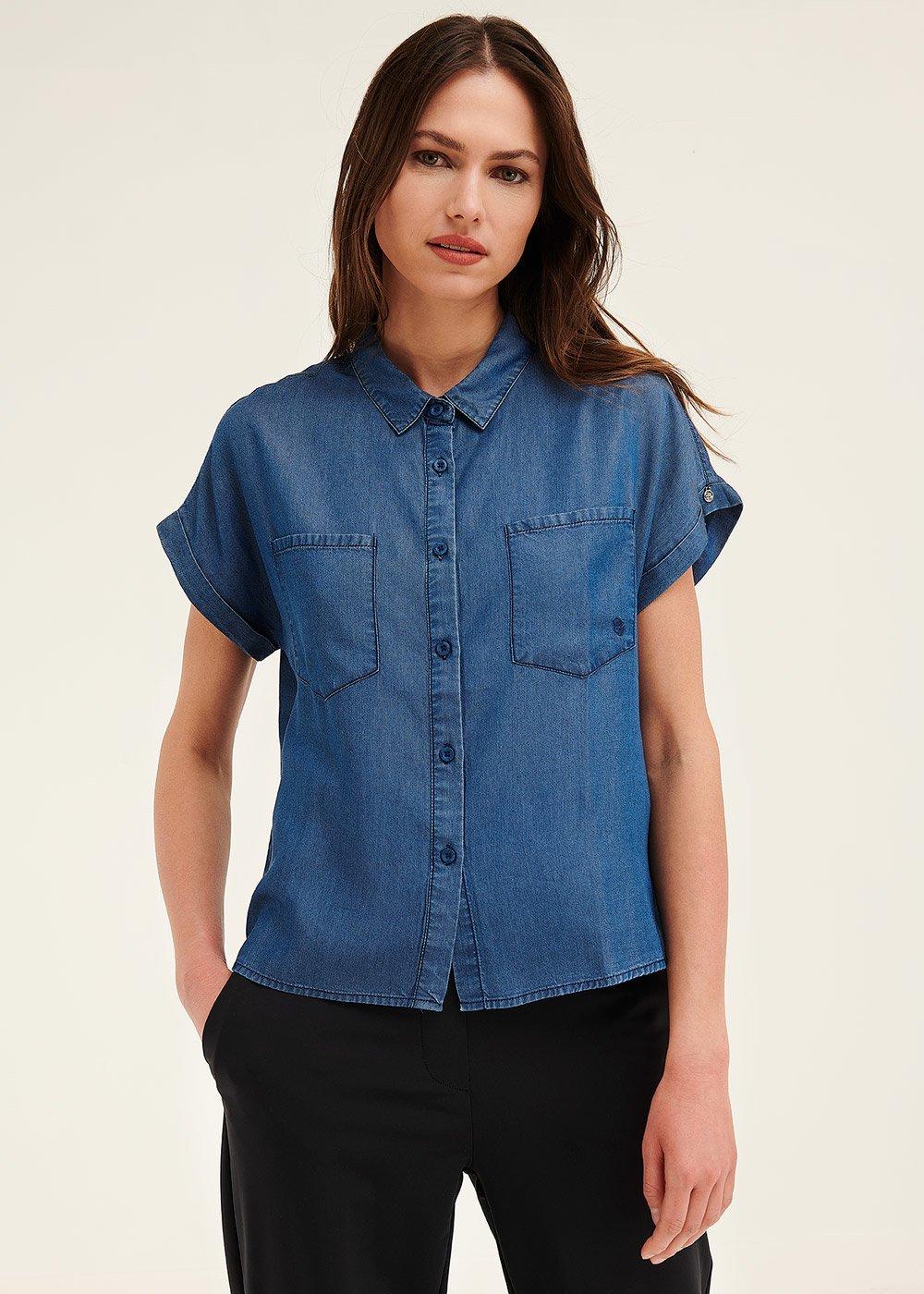 Carol short-sleeved denim shirt - Light Blue - Woman