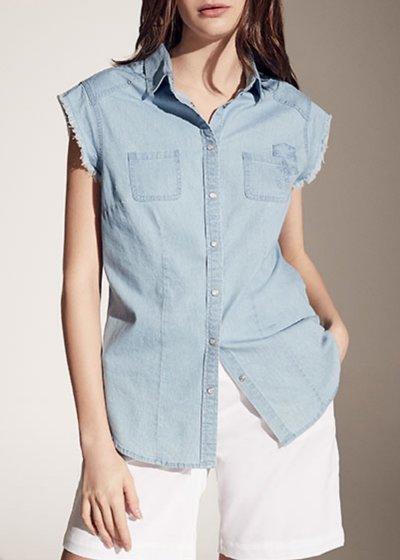 Candye sleeveless denim shirt