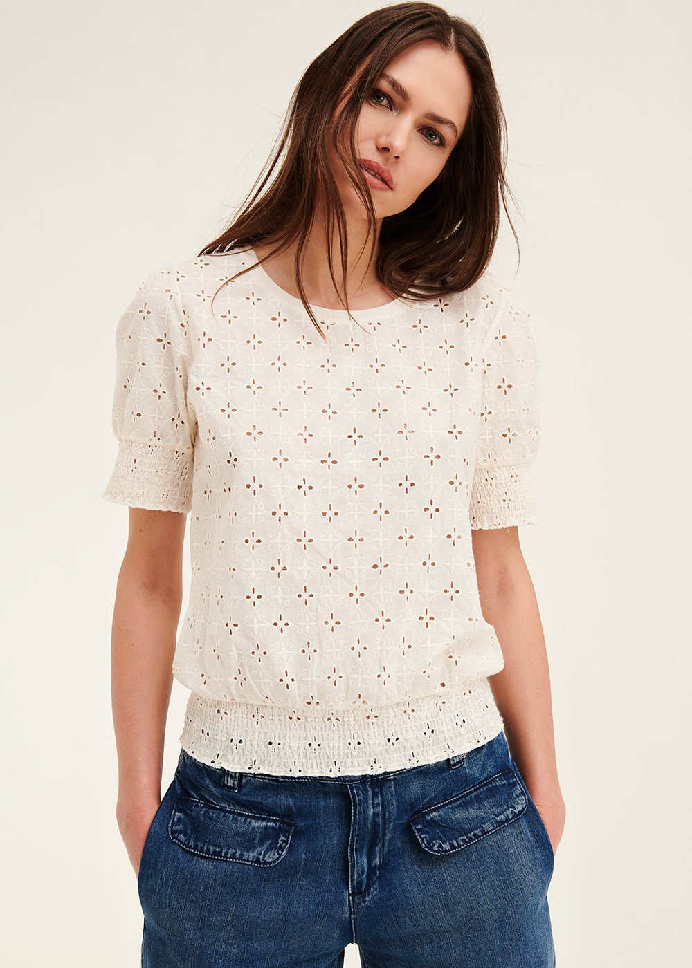 Simon broderie anglaise t-shirt - Mousse - Woman