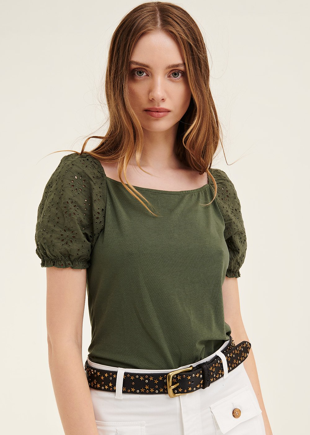 Sibylle t-shirt with puff sleeve - Green - Woman