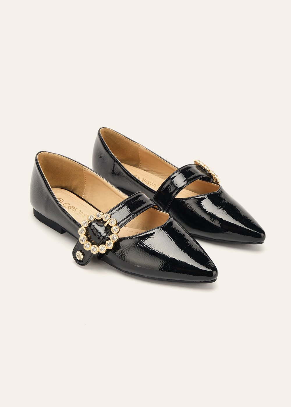Sharleen glossy ballet flats with buckle - Black - Woman