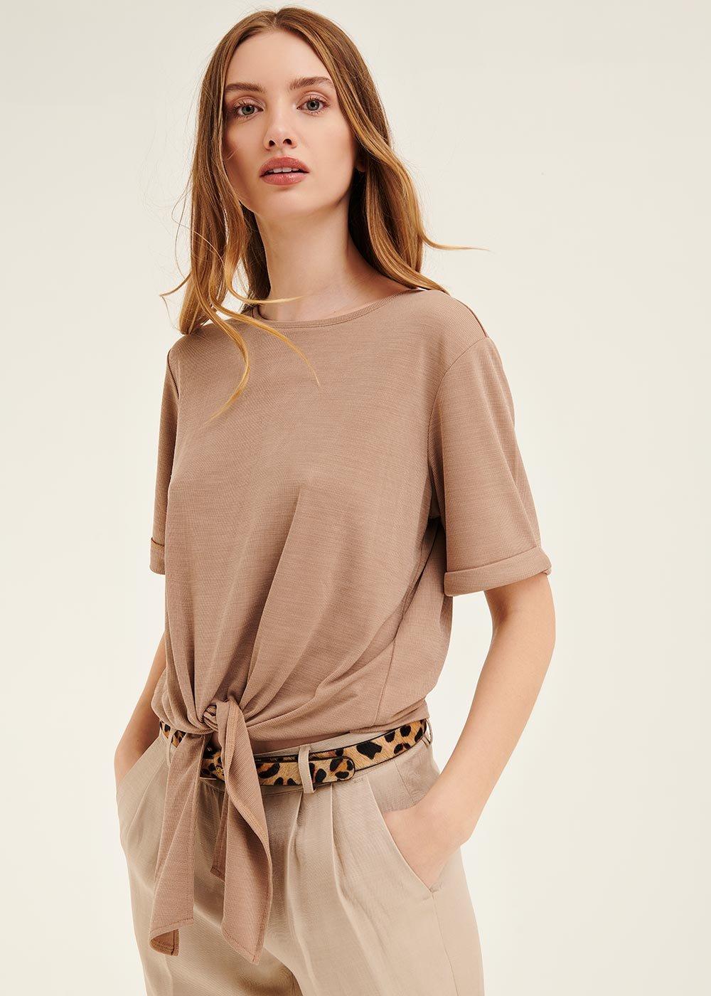 T-shirt Stephanie con fiocco al fondo - Taupe - Donna
