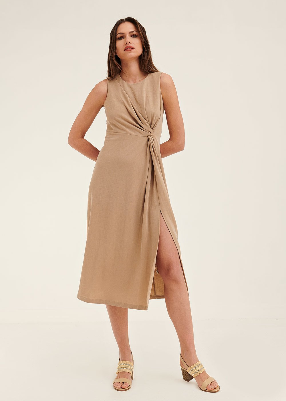 Alexis jersey dress with waist knot - Taupe - Woman