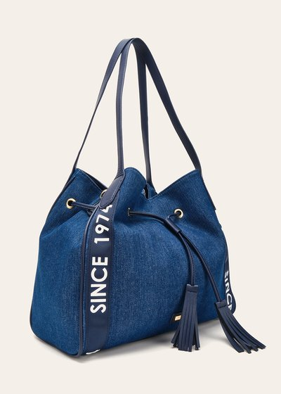 Brooke canvas sack bag with logo ribbons