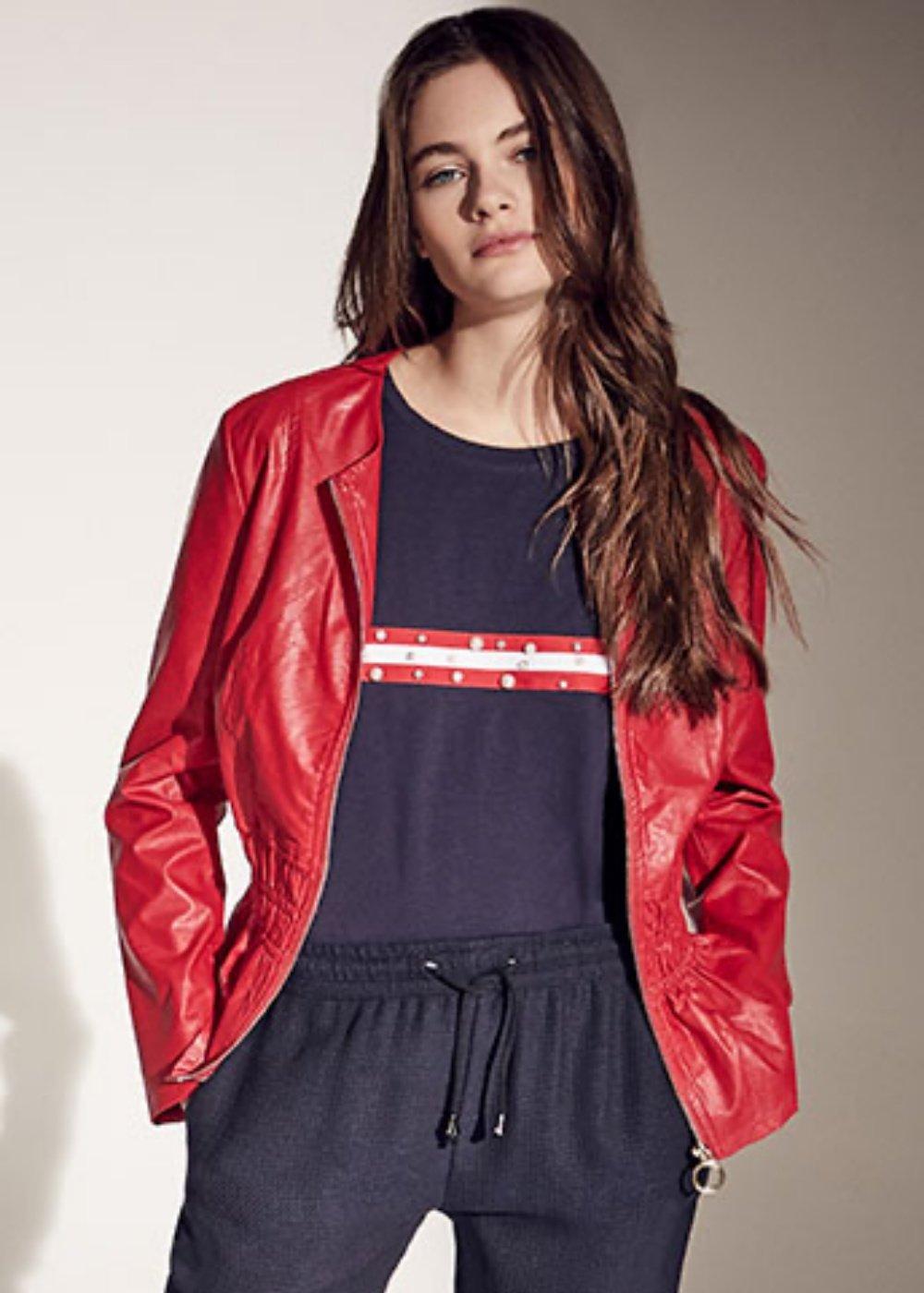 Garys faux-leather jacket with ruffles - Lobster - Woman