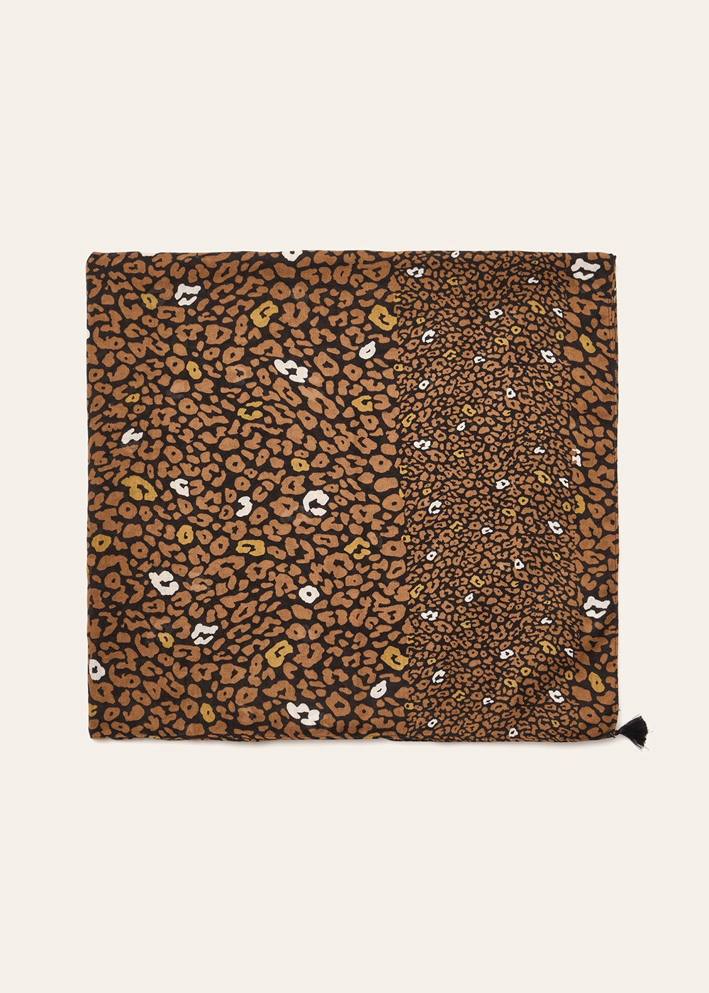 Shad scarf with micro spotted pattern - Terra  / Black - Woman