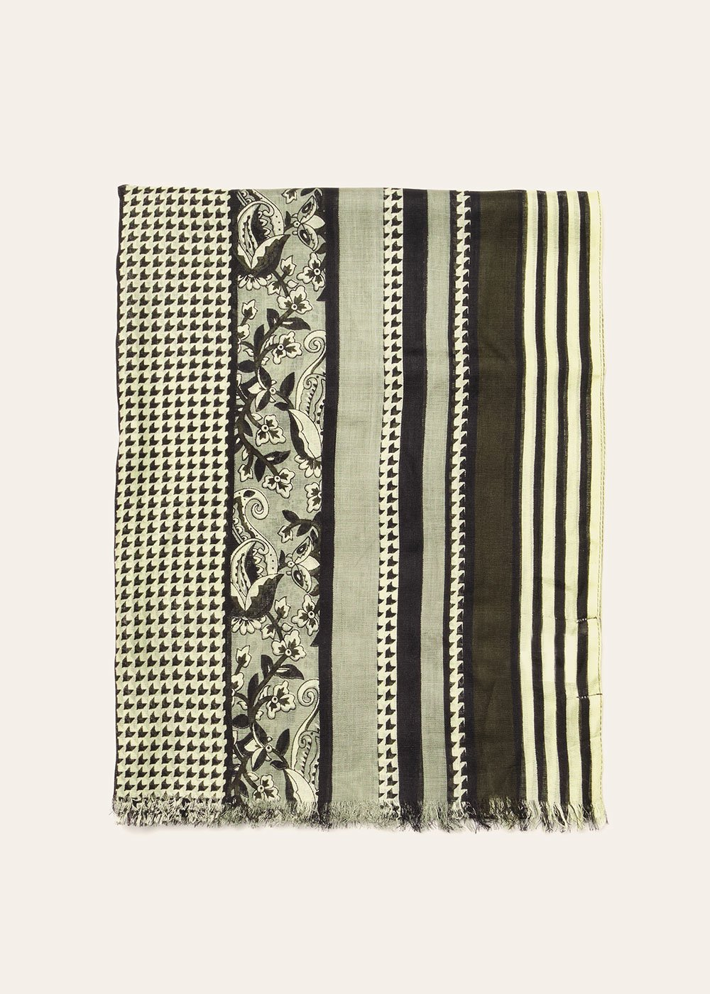 Syl fringed scarf - Argilla  / Black - Woman