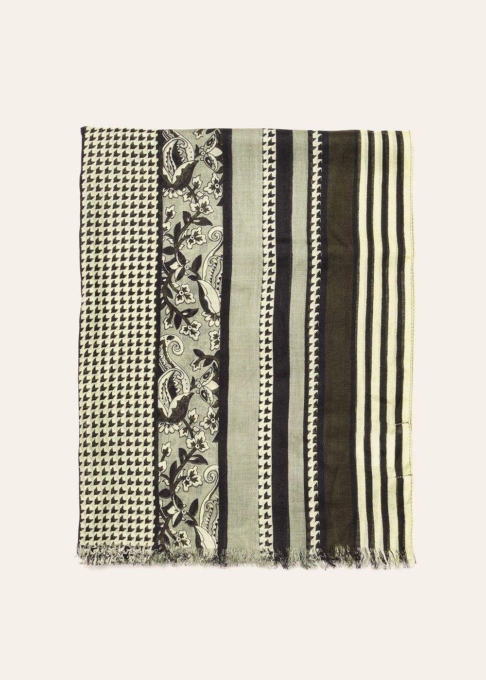Syl fringed scarf - Argilla  / Black - Woman