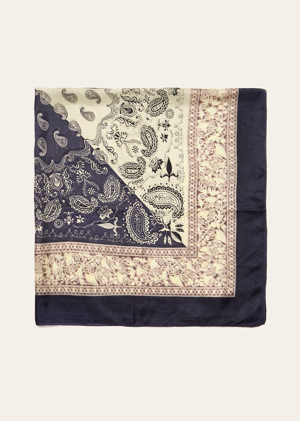Samyl scarf with bandana print - Dark Blue / Mousse - Woman