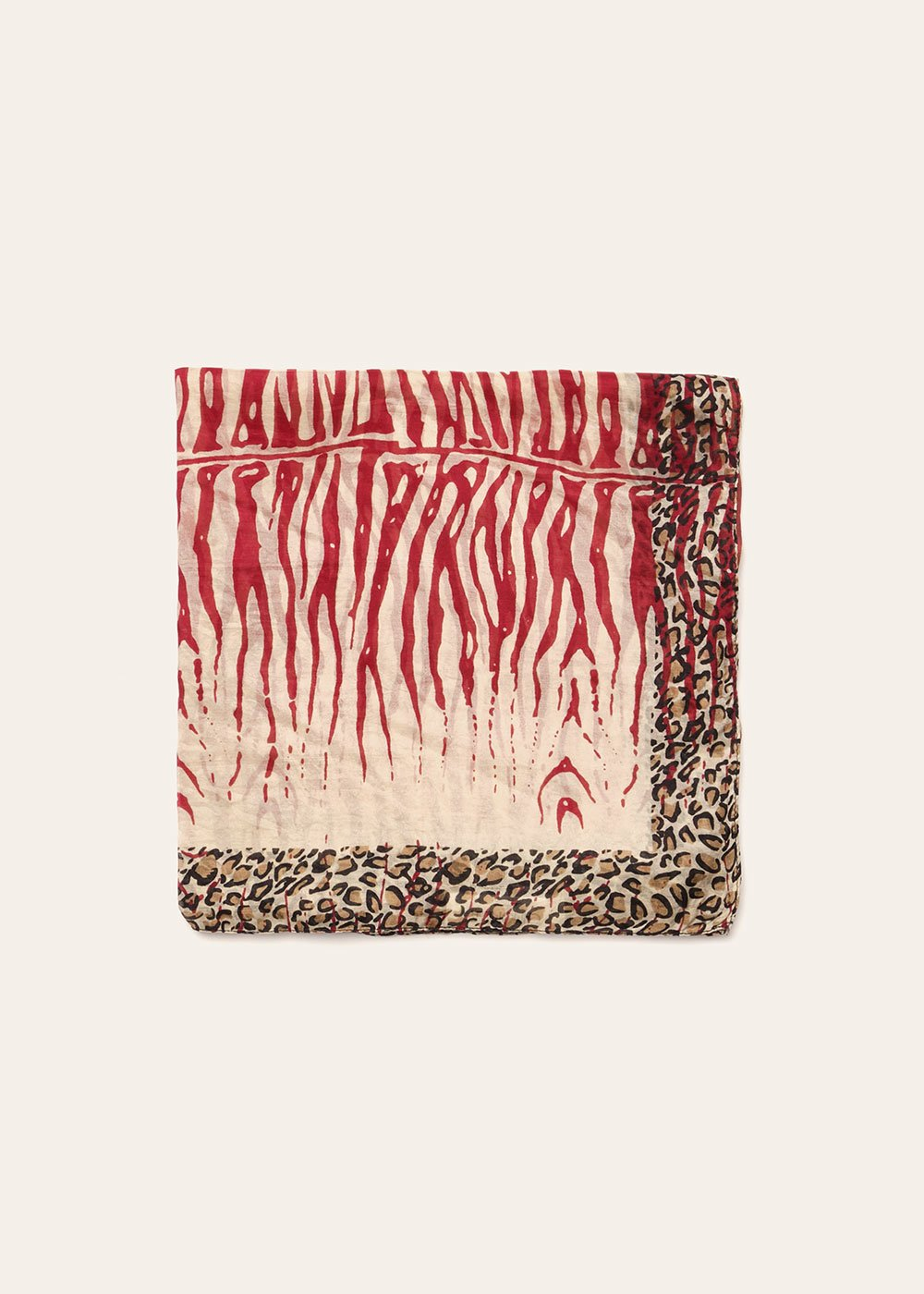 Soel animal print scarf - Mousse / Ciliegia - Woman