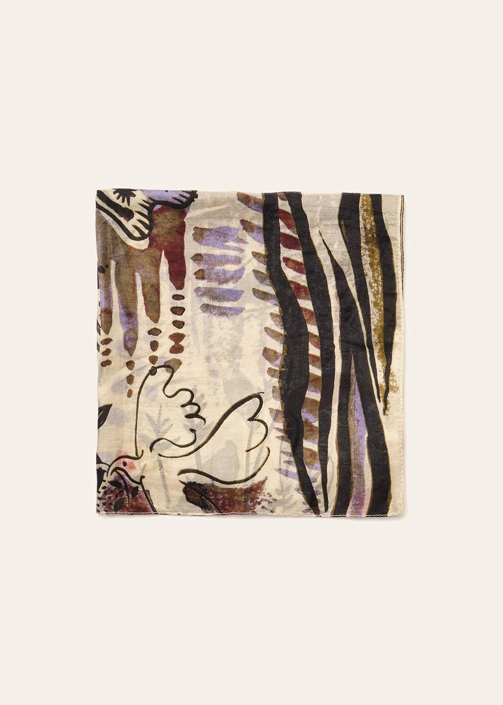 Siuk multi-patterned scarf - Light Beige / Kaki - Woman