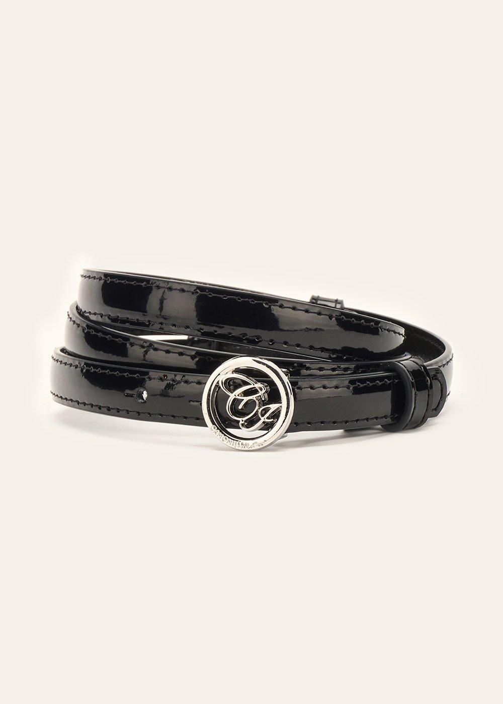 Candyl thin patent leather belt - Black - Woman