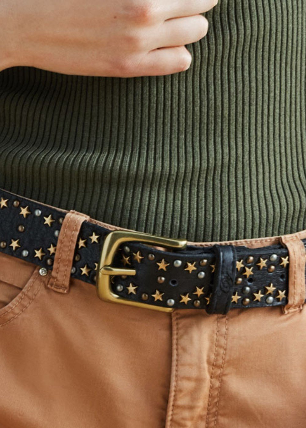 Camy genuine leather belt - Black - Woman