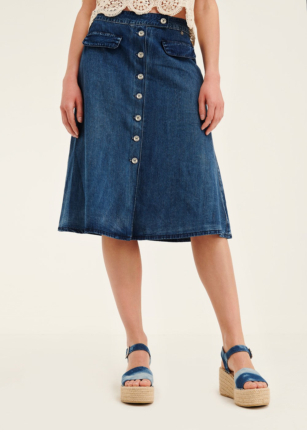 Giuly denim skirt with front buttons - Light Blue - Woman