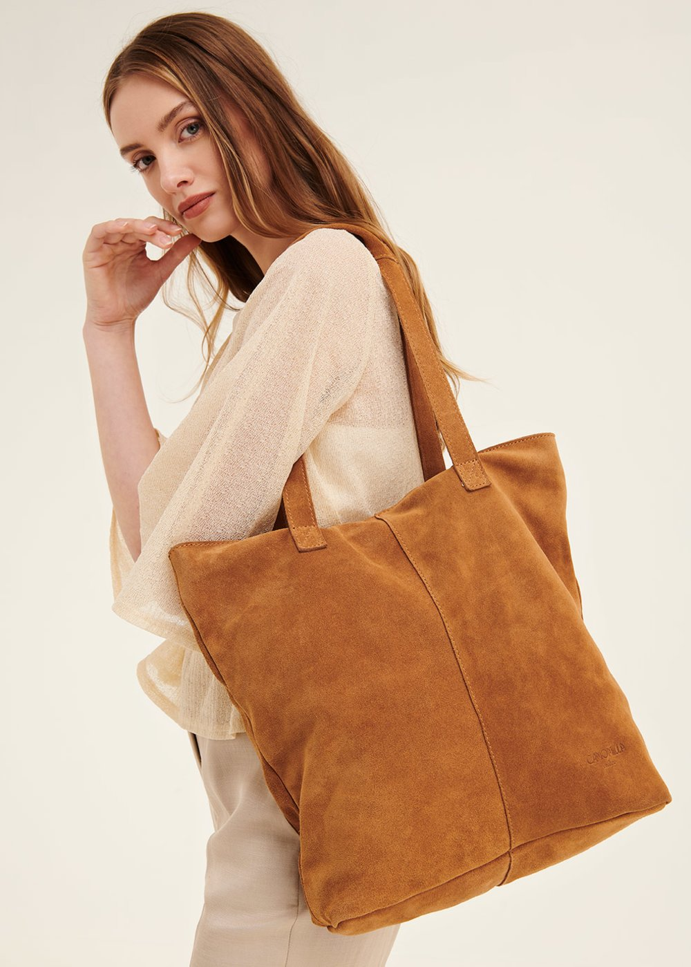 Brigit unlined genuine leather shopping bag - Pecan - Woman