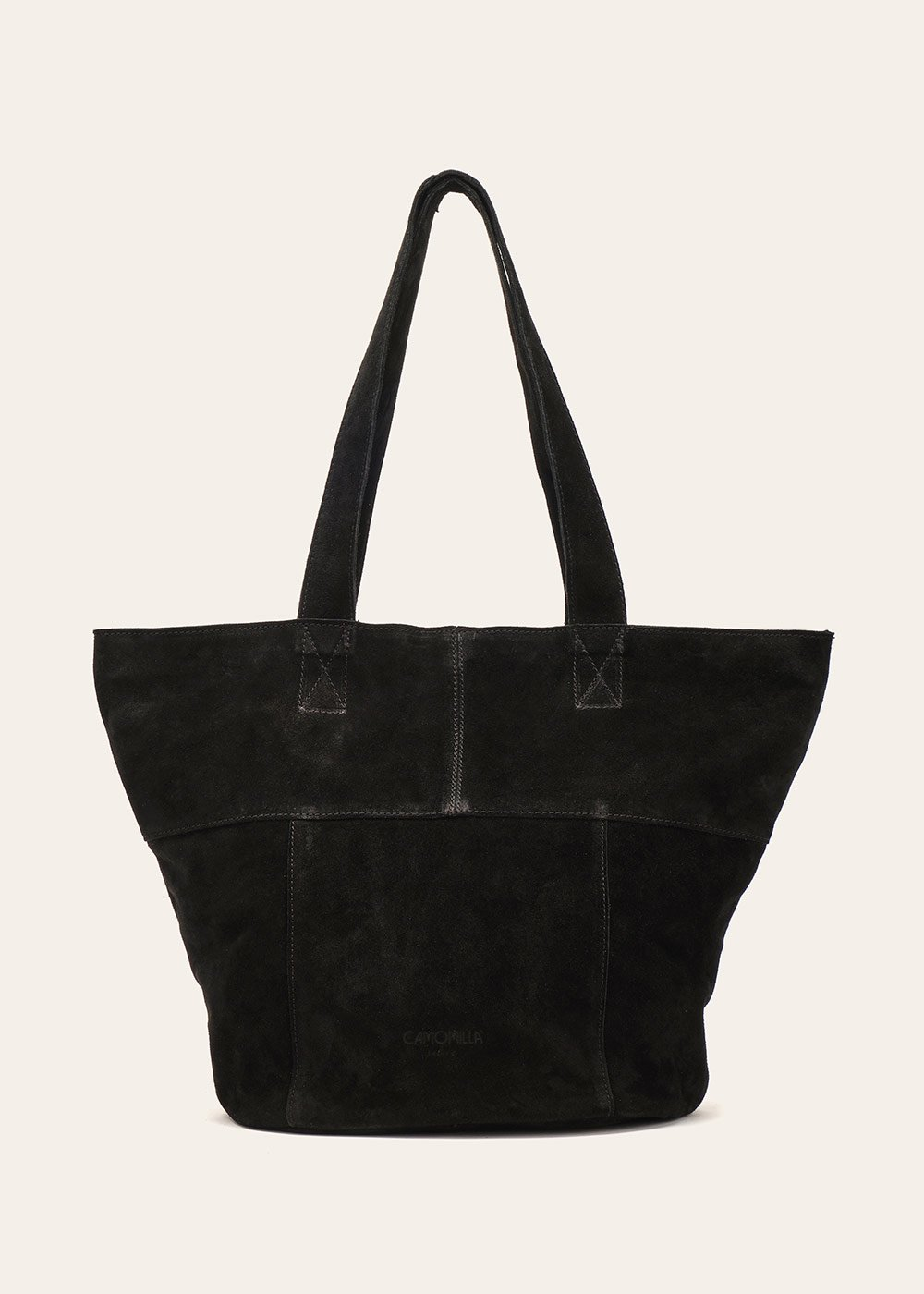 Britney unlined genuine leather shopping bag - Black - Woman