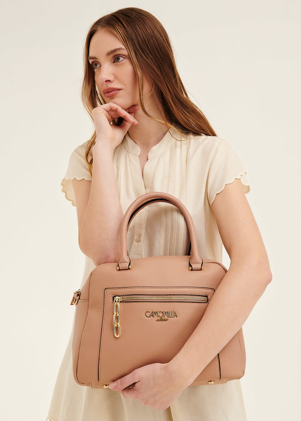 Bahar Boston bag with shoulder strap - Nude - Woman