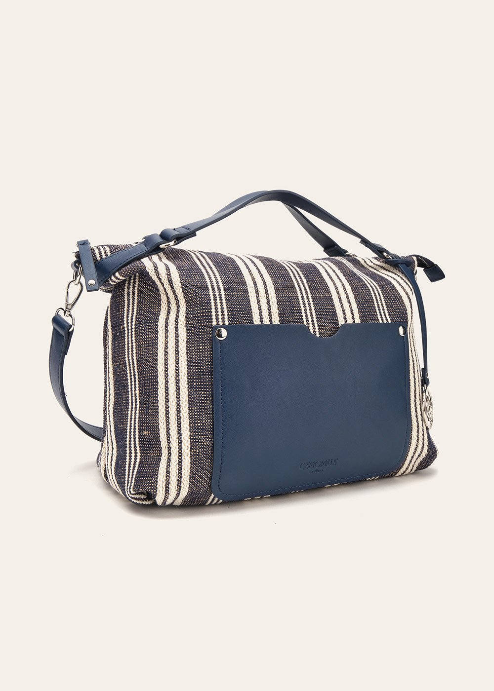 Beryl fabric handbag with faux-leather appliques - Dark Blue Stripes - Woman