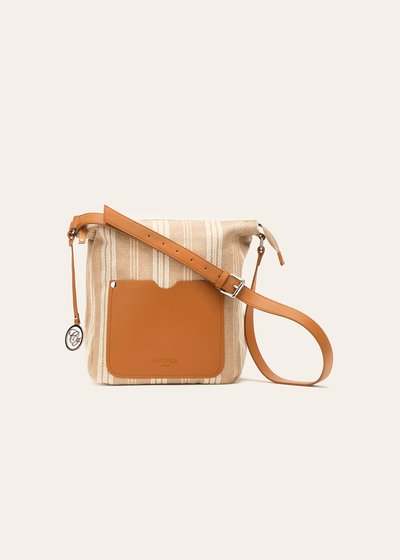Bailey fabric handbag with stripe and lurex pattern