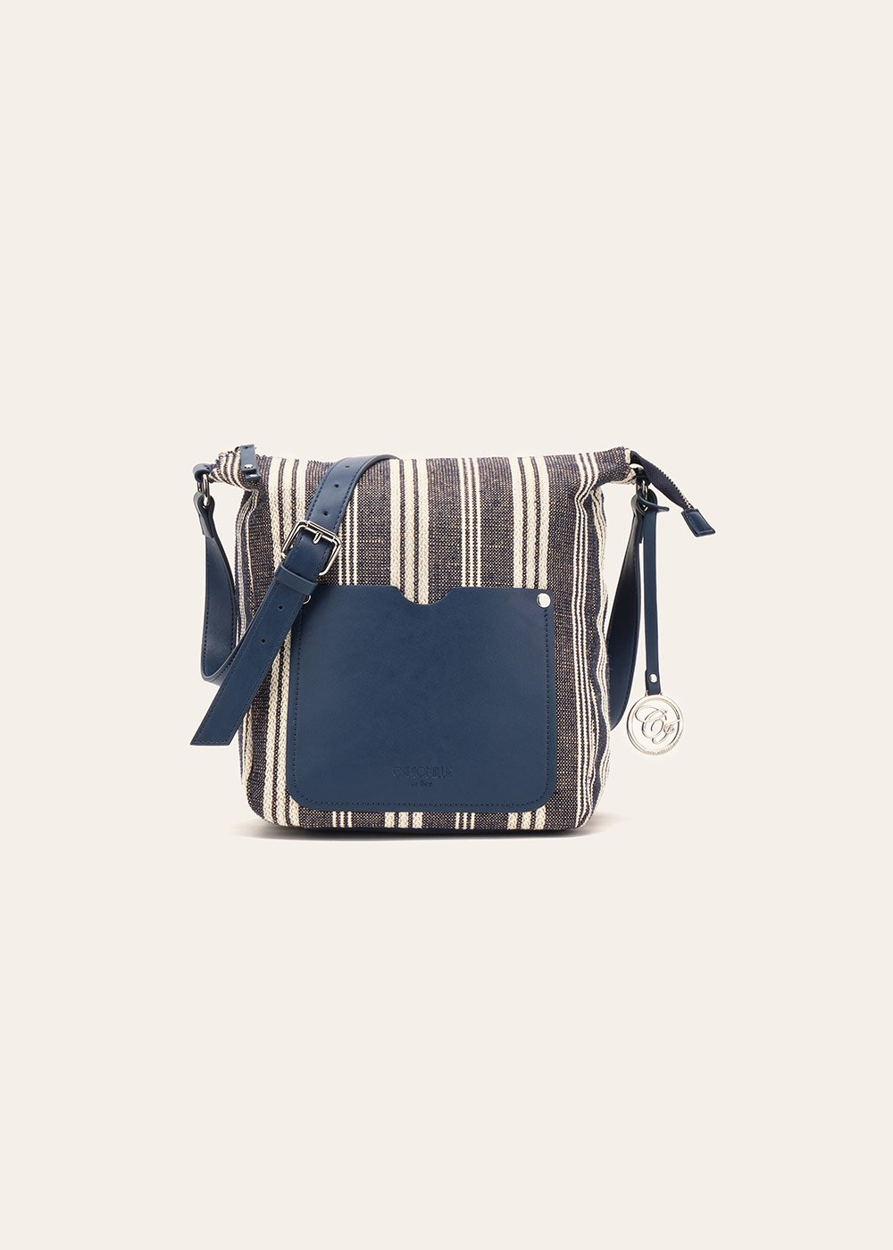 Bailey fabric handbag with stripe and lurex pattern - Dark Blue Stripes - Woman