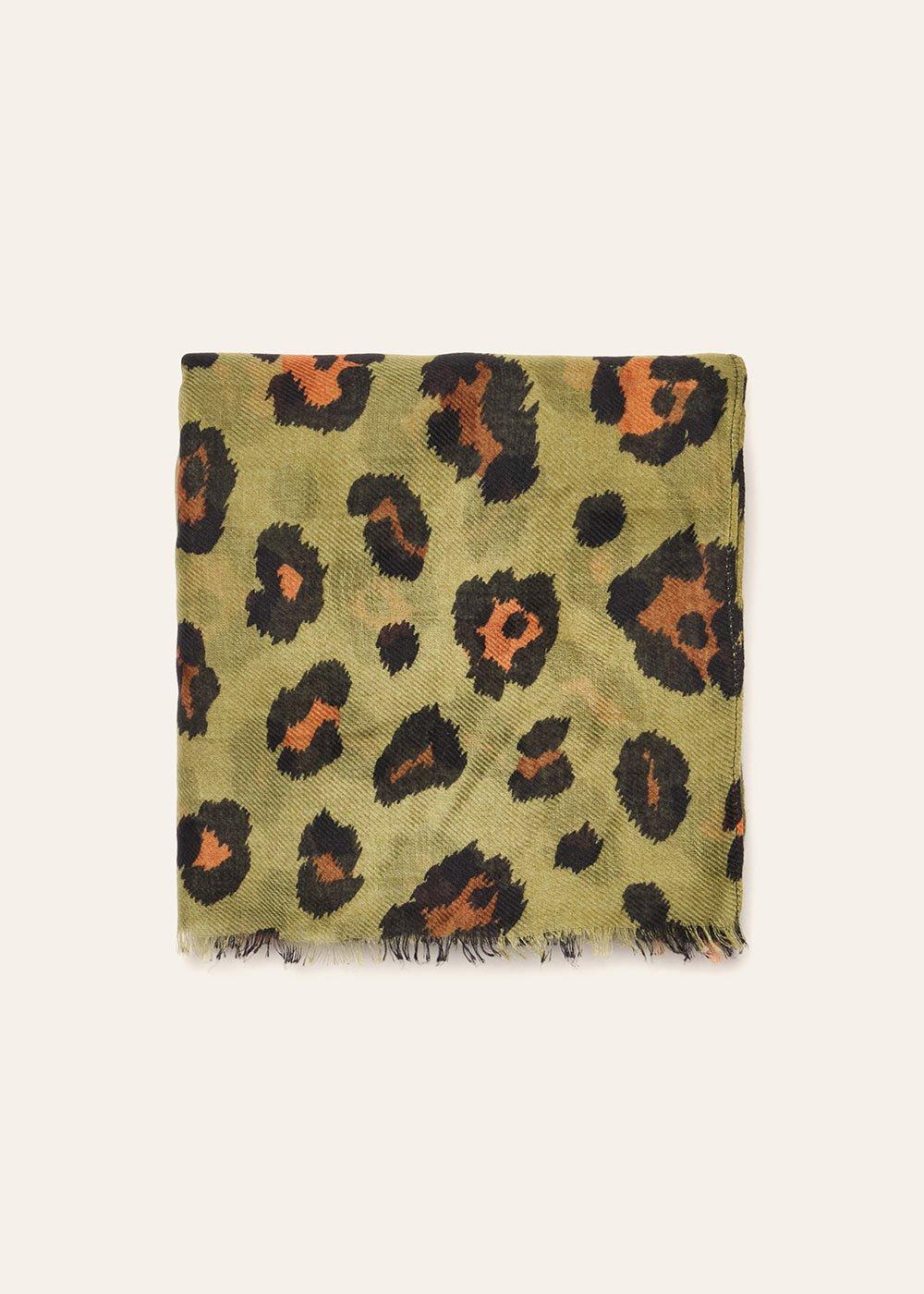 Sheren animal print cotton scarf - Kaki Animalier - Woman