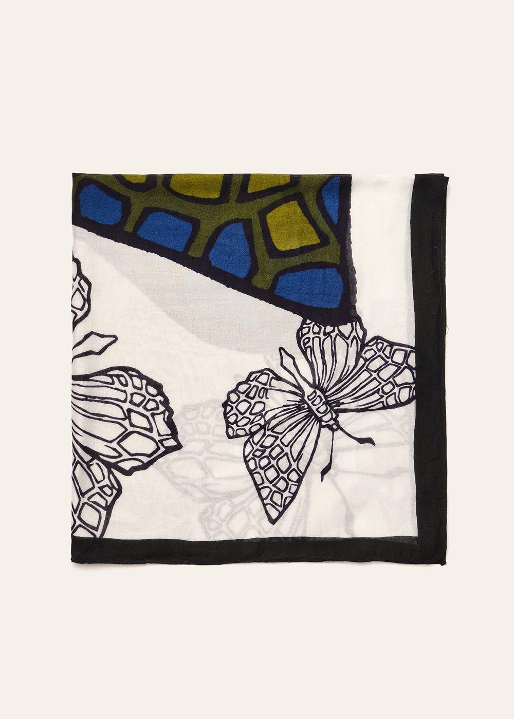Butterfly print cotton scarf - White / Black - Woman
