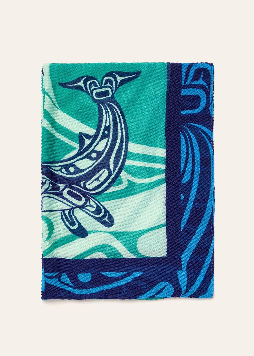 Sciarpa plisse stampa pesci - Menta - Donna