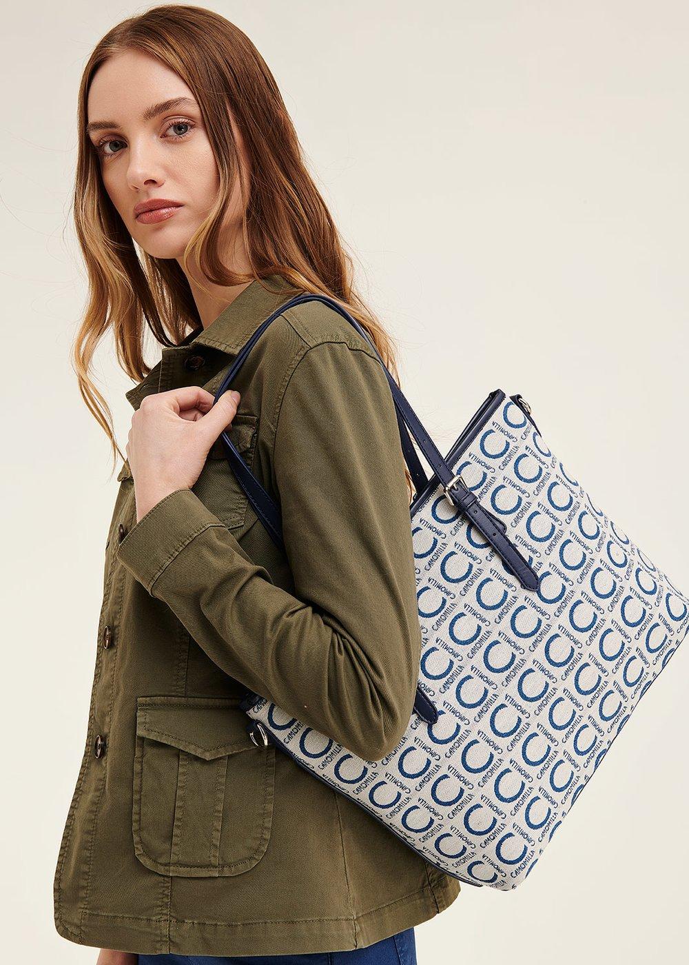 Logomania shopping bag - Avion / White - Woman