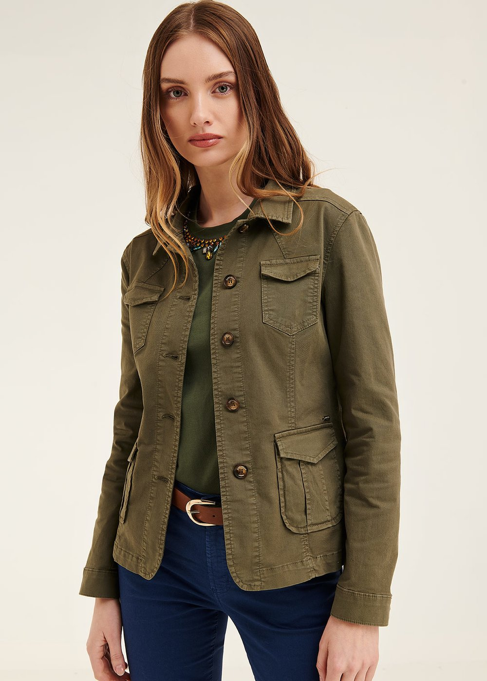 Kelly jacket with patch pockets - Green - Woman