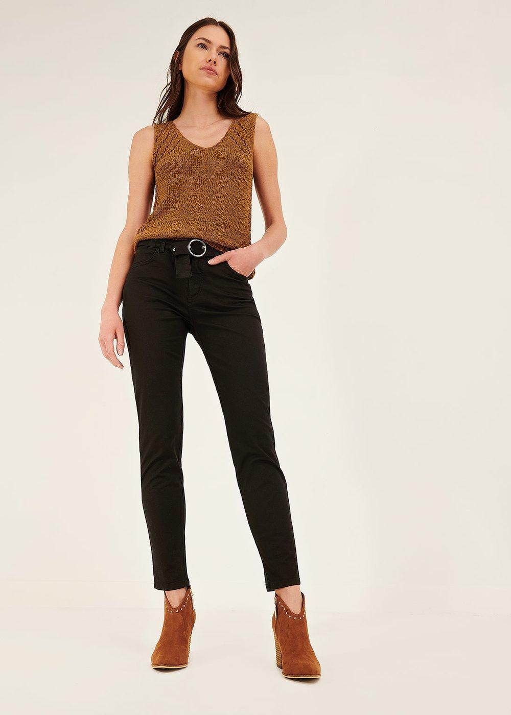 Pantalone modello Kate con cintura in tono - Black - Donna