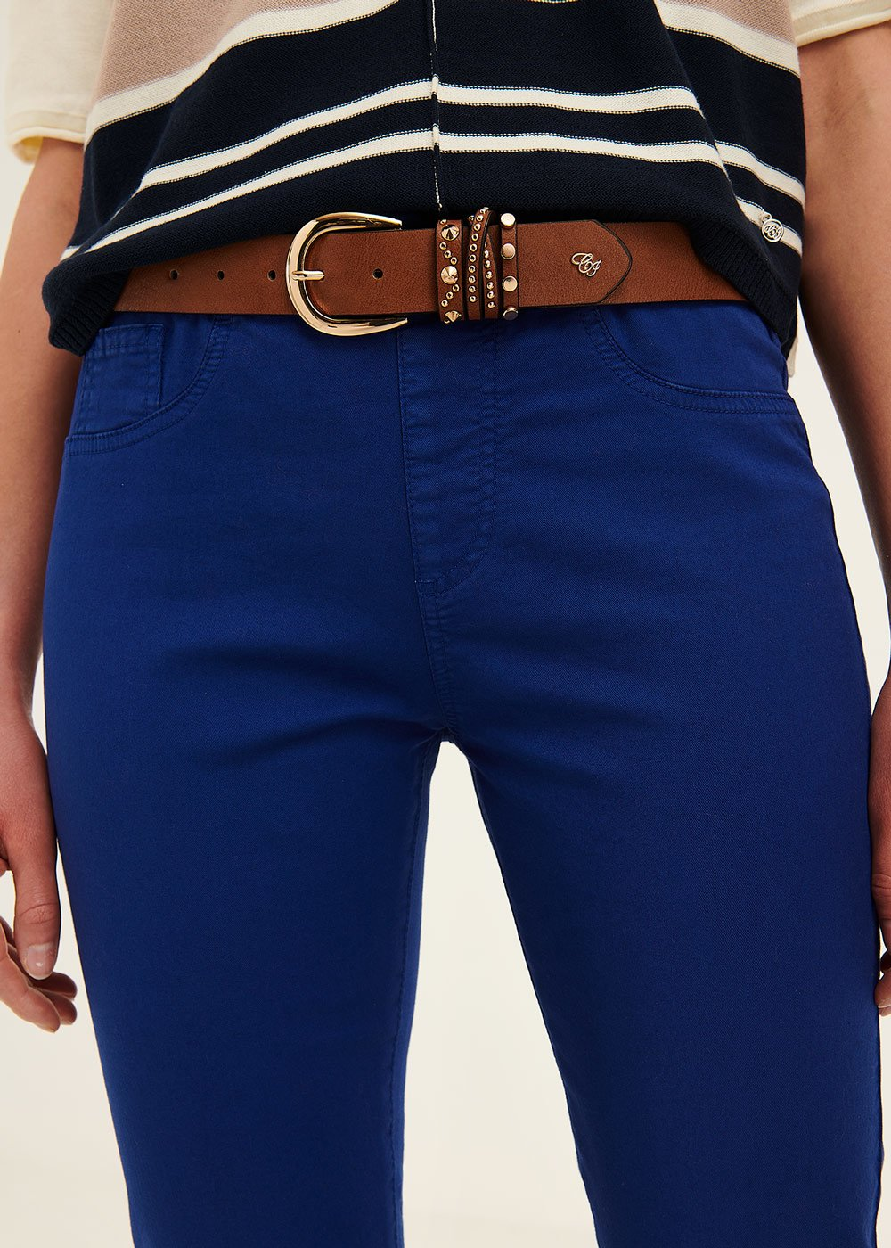Chili faux-leather belt with detail of studs - Pecan - Woman