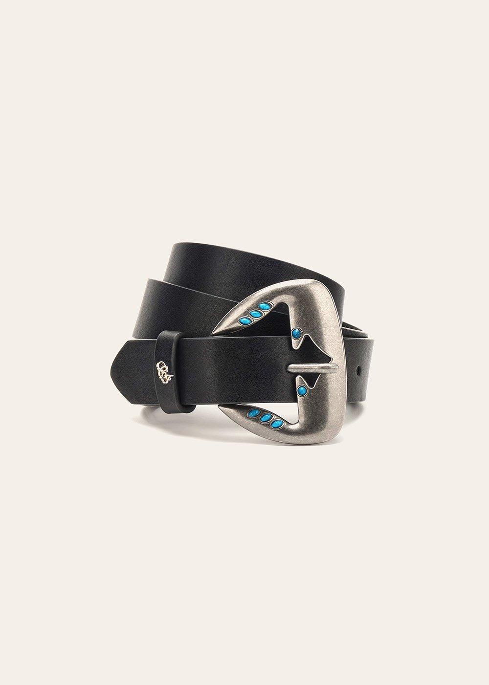 Cintura Cherys con micro borchie turchesi - Black - Donna