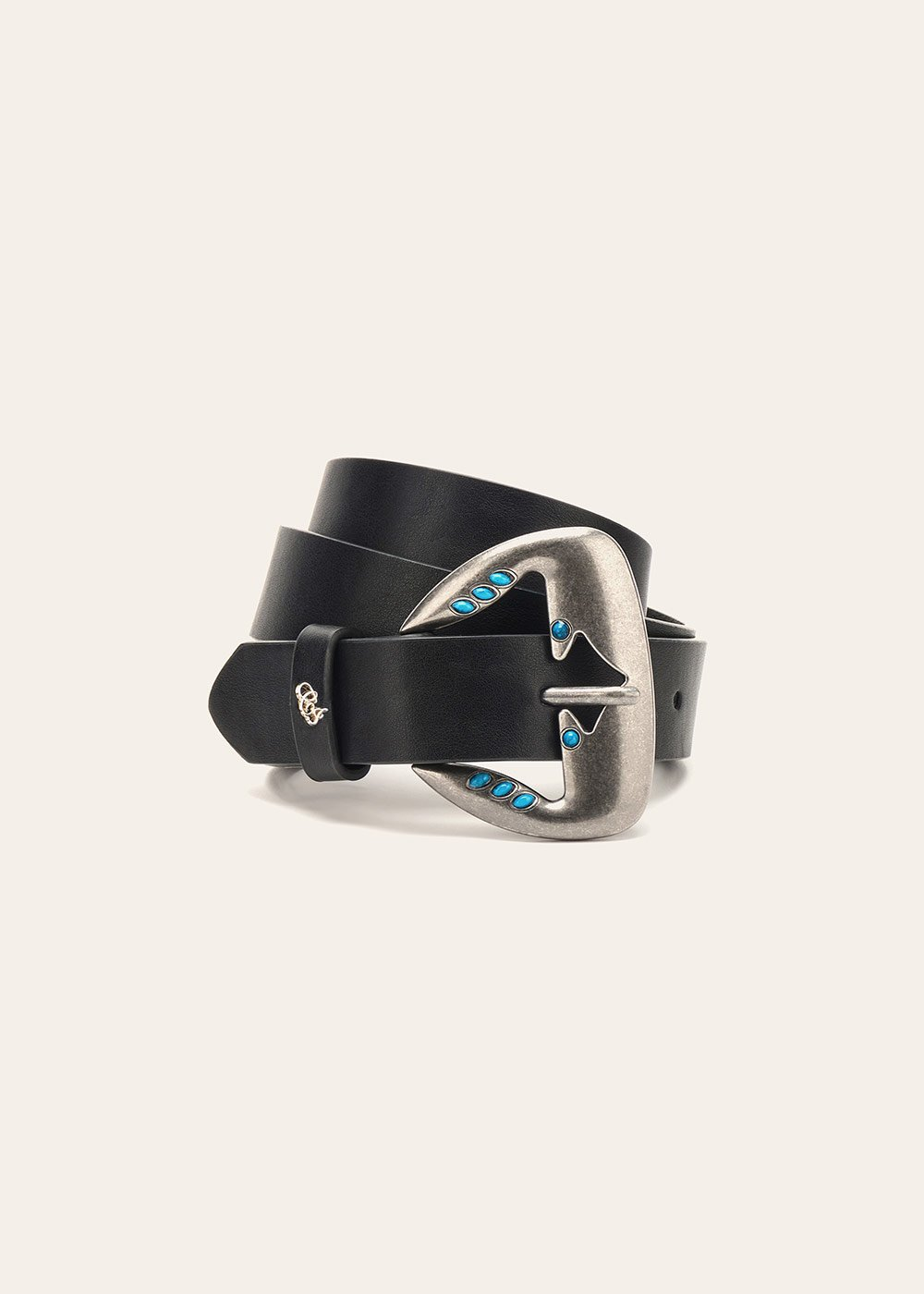 Cherys belt with micro turquoise studs - Black - Woman