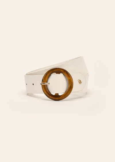 Camyl belt with wooden buckle